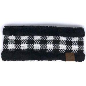 C.C Black & Buffalo Plaid Sherpa Headband